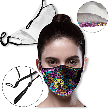 MSK3LP - 3 layer Face Mask with filter pocket & adjustable loop masks