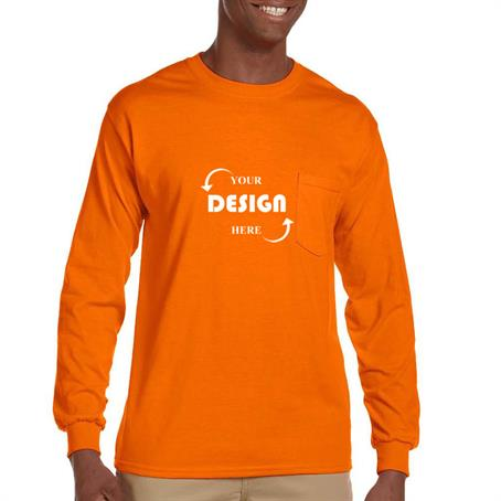AT241P - 100% Cotton Long Sleeve Winter T-Shirt 6.1 oz with Pocket