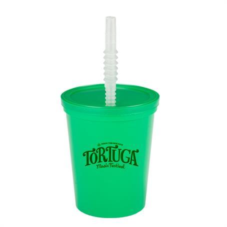 BP16L - 16 Oz Plastic Sports Cups W/ Lid And Straw