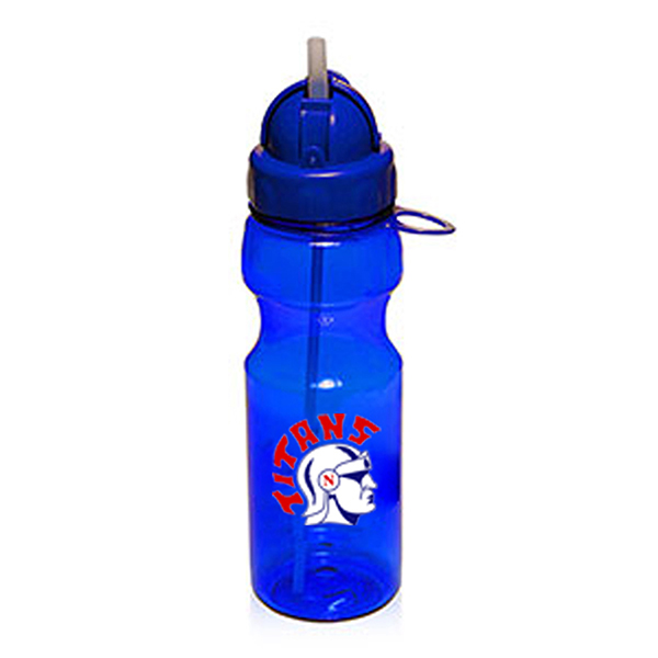SPB167 - 22 oz Plastic Sports Bottle w/ Straw
