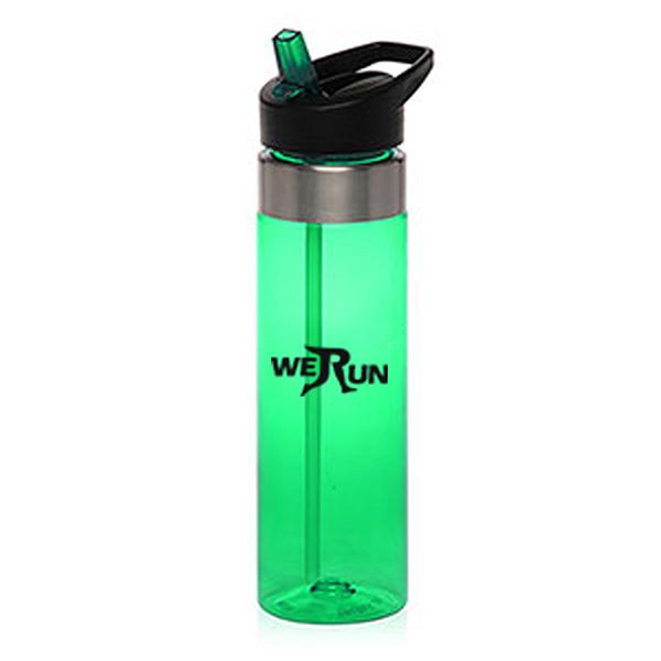 SPB147 - 24 oz Plastic Water Bottle w/ Straw