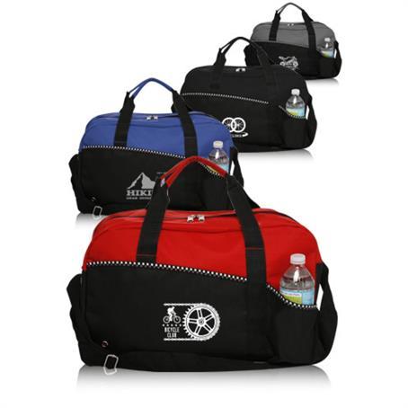 IDFBUS15 - Two Tone Zippered Duffel Bag w/ Shoulder Strap