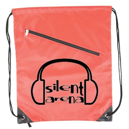 IDSB02 - Nylon Drawstring Bag With Front Zipper
