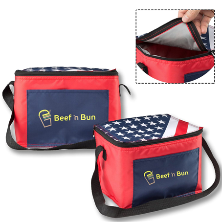 ILBUS35 - American Flag Insulated Two tone Lunch Bags w/ Front Pocket