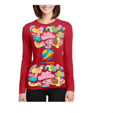 AFDSRW38 - Women's Long Sleeve Round Neck T-Shirt w/ Sublimation Tshirt