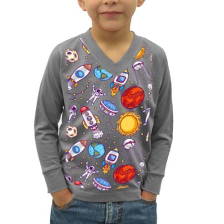 AFDSVK45 - Long Sleeve Kids V-Neck T-Shirt W/ Dye-Sublimation Tshirts