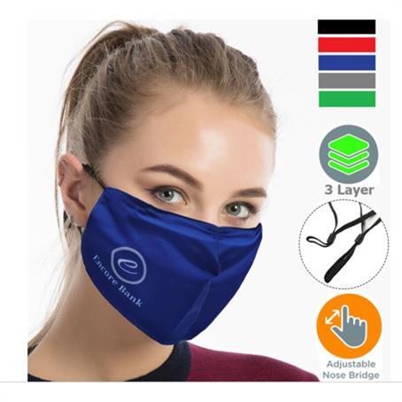 IM-M3LPSC - Performance 3 Layers Face Mask W/ Nose Bridge, Adjuster Loop