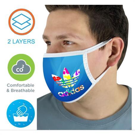 IMSK2LE - 2 Layer Face Mask W/ Full Color Imprint & Elastic Ear-Loop