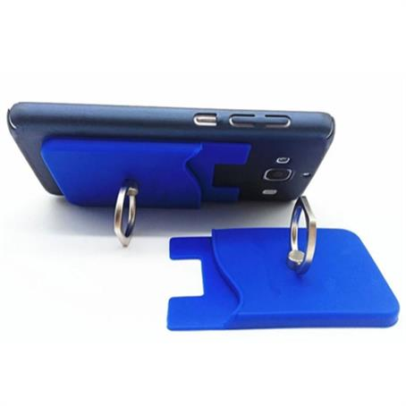 IM-PWRG16 - Silicone Phone Wallet With Finger Ring Holder