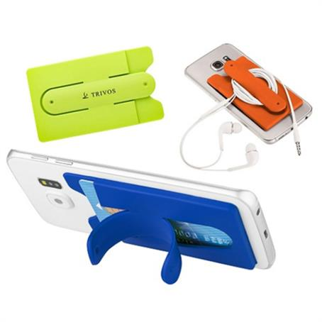 IM-PWST15 - Adhesive Phone Wallet Kickstand Sleeve With Cord Organizer