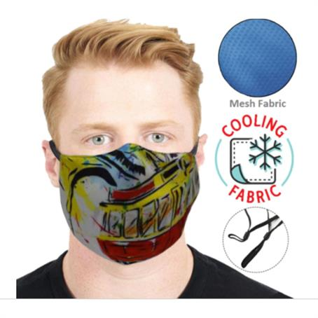 IMCM2FC - 2-Layer Cooling Face Mask W/ Full Color Antibacterial Masks