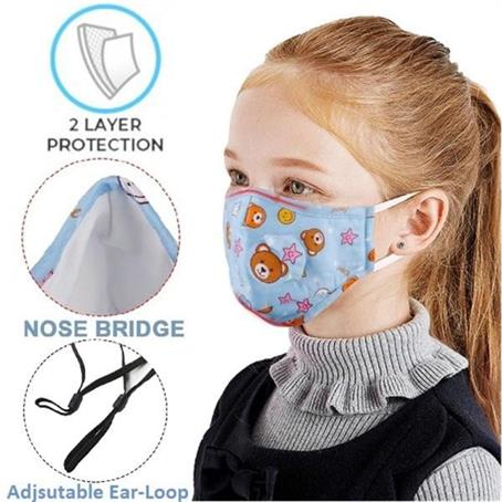 MSK2LK - Kids Face Mask w/Full Color Custom Logo 2-Layer Safety Masks