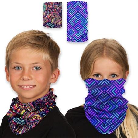 TEST02FCK - Kids Face Bandana Mask Reusable Tube W/ Full Color Custom