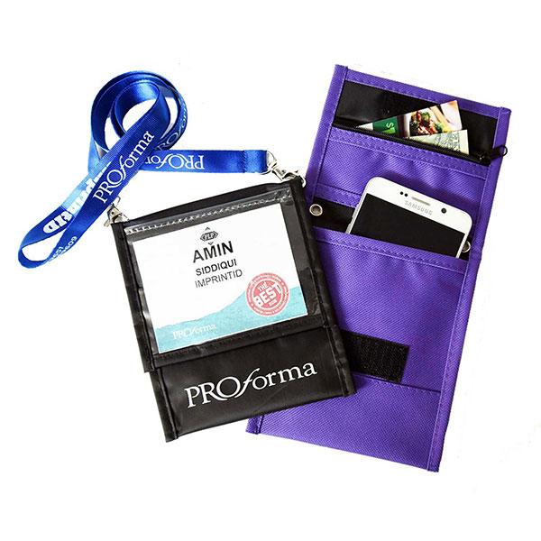 NWAL-NYFFLP06 - Front Flap Pocket Neck Wallet W/ Six Pockets