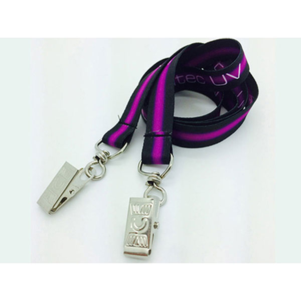 LAN-USDE - Usa Made Full Color Sublimation Lanyards, Double Clip Attachment