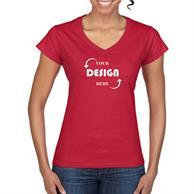 Gildan 100% Cotton Preshrunk Softstyle Ladies V-Neck T-Shirt w/ Custom Imprint