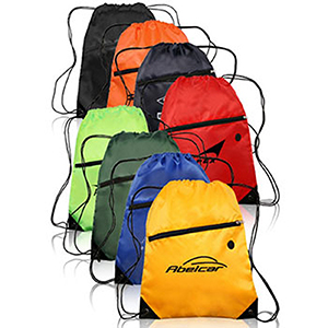 Sports Drawstring Bag With Front Zipper