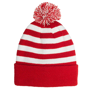 Pom Pom Striped Knit Beanies