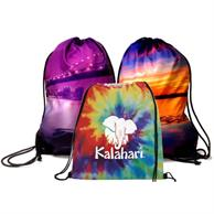 """Large 16""""x 20"""" Cotton Drawstring Backpack w/Full Color Print"""