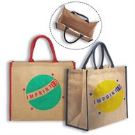 Eco Friendly Jute Bags w/ Colored Handles & Accents