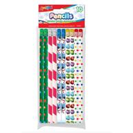 Set of 10 Holiday Theme #2 HB Fashion Pencils With Eraser