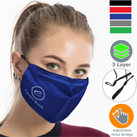 Performance 3 Layers Face Mask w/ Nose Bridge, adjuster loop