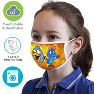 2 Layer Face Mask w/ Full Color Imprint & Elastic Ear-Loop