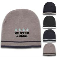 Beanie - Acrylic Knit embroidered beanies w/ Double stripe