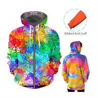 Full Color Hoodie W/Front Zipper & Pocket Sublimated Hoodies