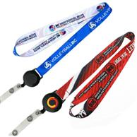 3/4 Inch Dye Sublimation Lanyards W/ Retractable Reel Combo