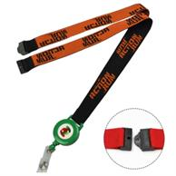 Woven Combo Badge Reel Lanyard W/ Safety Breakaway
