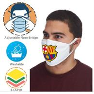 Usa Printed 3 Layer Reusable Face Mask W/ Full Color Logo & Nose Bridge