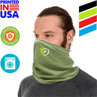 USA Printed Heathered Neck Gaiter w/ Full Color Imprint Antimicrobial