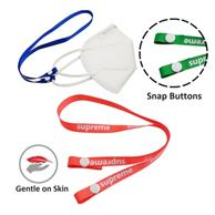 Polyester Face Mask Lanyard W/ Snap Button
