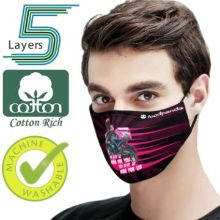 5 Layer Full Color Face Mask w/ Adjustable Ear Loop