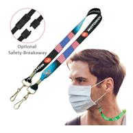 """Usa Decorated 3/4"""" Mask Lanyard Full Color Face Mask Keeper"""
