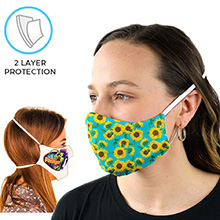Full Color 2 Layer Face Mask w/ Head Strap Safety Masks