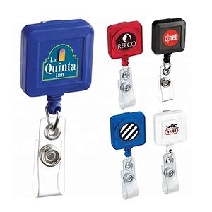 Square Badge Reels w/ Bulldog Clip